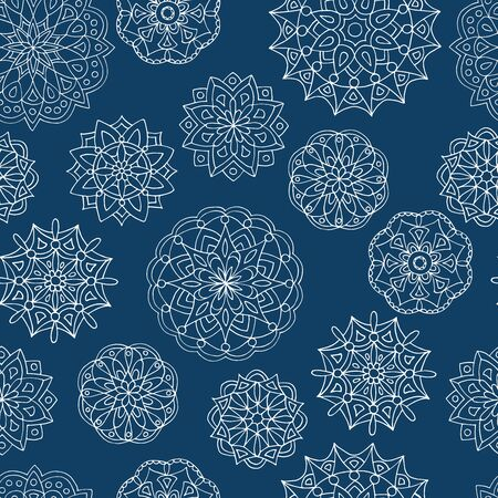 Beautiful seamless mandala pattern, white lace outline on dark blue background, for cover design, print on textiles, gift packages Standard-Bild - 133357166