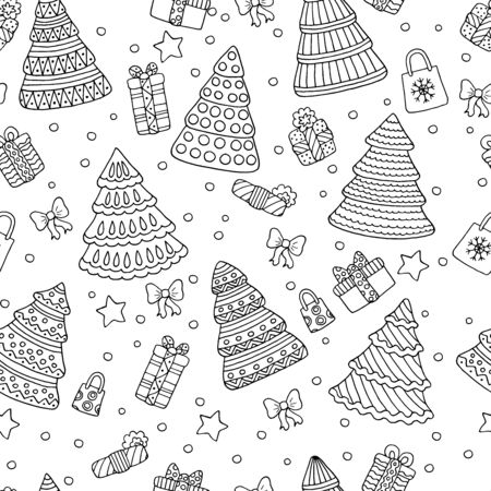 Holiday coloring page, seamless background with doodle Christmas trees and gifts on white background, for kids and adults Standard-Bild - 133357208