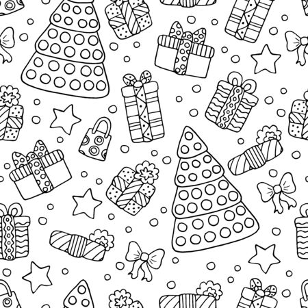 Seamless background with doodle Christmas trees and gifts on white background, coloring page for kids and adults