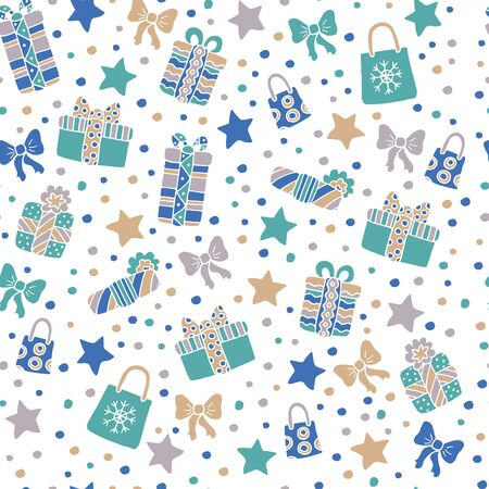 Christmas seamless background with Doodle gifts, bows, stars, candy on white background, for cover design, wrapping paper and other decoration