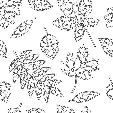 Seamless pattern with abstract autumn leaves, coloring page for kids and adults 일러스트