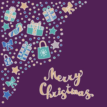 Set with Christmas trees, gifts, stars, confetti, bows and happy Christmas text on purple background, for greeting card design Çizim