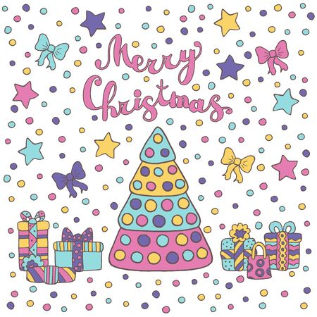 Holiday Doodle a picture of a Christmas tree, gifts, stars, ribbons and confetti on white background, greeting card design