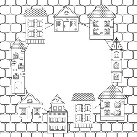 Frame with houses, coloring page for children and adults