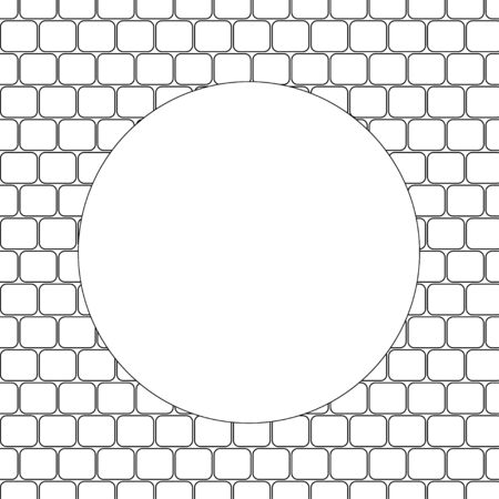 Round frame with texture of brick wall or paved pavement, coloring page for kids and adults