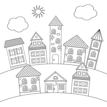 Coloring page with houses and towers on the hill Çizim