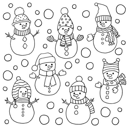 Set of cute Christmas snowmen in hats and scarves and snow coloring page for kids and adults