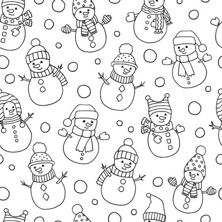 Seamless pattern with cute Christmas Doodle snowmen, coloring page for kids and adults Çizim