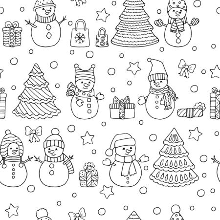 Winter Christmas seamless pattern with cute Doodle snowmen with gifts, coloring page for kids and adults