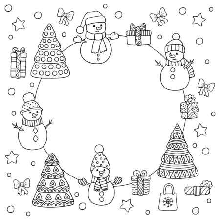 Round frame with cute doodle snowmen and Christmas trees, coloring page for kids and adults