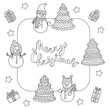 Christmas frame with Doodle cute snowmen and text, coloring page for kids and adults Standard-Bild - 133357032