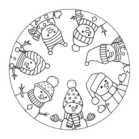 Funny, merry Christmas snowmen in hats in circle, coloring page for kids and adults