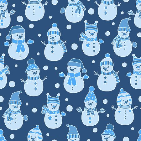 Seamless pattern with Christmas snowmen on dark blue background, cover design, packaging, greeting card Çizim