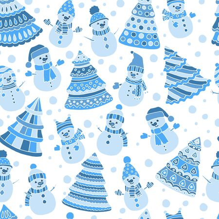 Beautiful winter seamless pattern with Christmas trees and snowmen on a white background, cover design, packaging, print on textiles