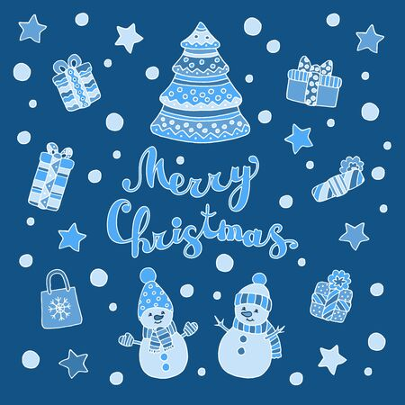 Greeting card with Christmas tree, funny cute snowmen and gifts on a blue background Çizim