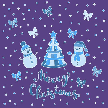 Greeting card with Christmas tree and funny cute snowmen on a purple background