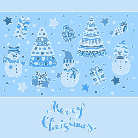Beautiful greeting card with Christmas tree, funny cute snowmen and gifts on a blue background