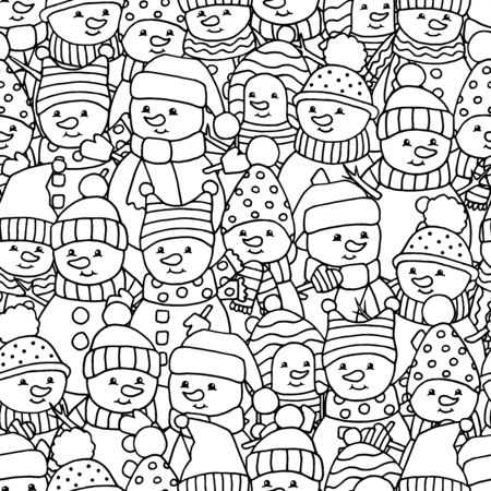 Seamless pattern with lots of funny merry Christmas snowmen, coloring page for kids and adults