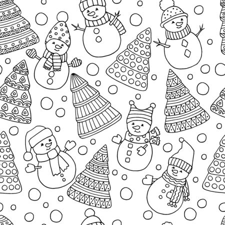 Beautiful winter seamless pattern with Christmas trees and snowmen on a white background, cover design, packaging, coloring page for children and adults