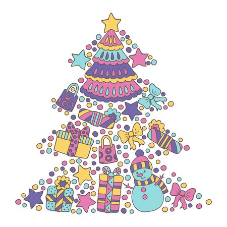 Abstract Christmas tree from a multicolored festive set: snowman, gifts, stars, confetti, bows on white background, greeting card design Çizim