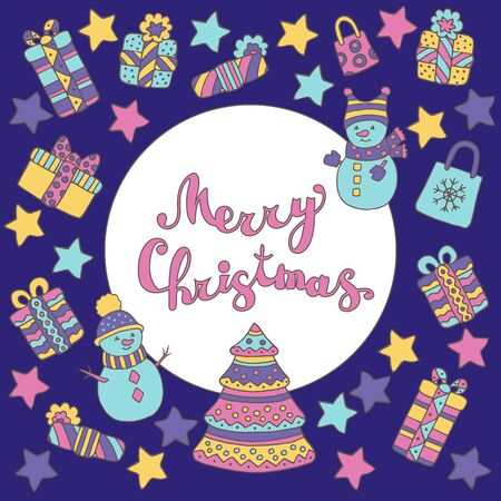 Beautiful colorful postcard with Christmas set: Christmas tree, snowmen, gifts, stars on a purple background