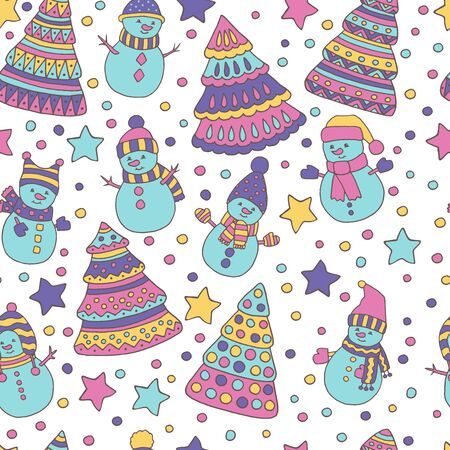Seamless pattern with colorful Christmas trees and snowmen on white background Çizim