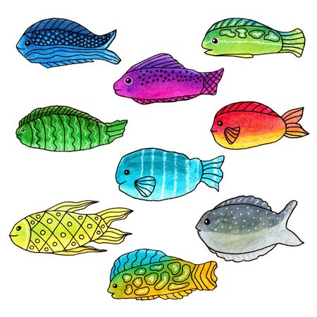 Set of colorful abstract funny doodle fishes, hand-drawn markers and liners on a white background, for stickers, decoration, cover design