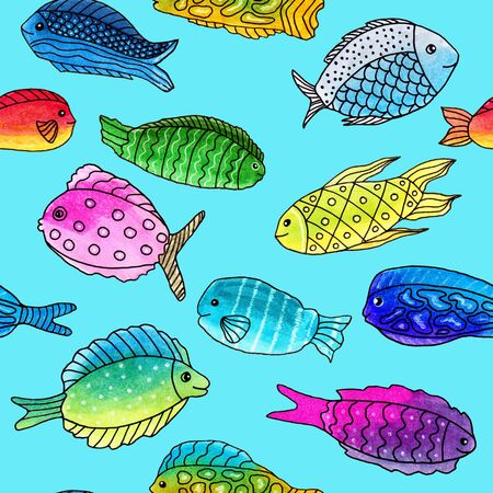 Abstract seamless pattern with doodle hand-drawn colorful fish on blue background, markers and liner