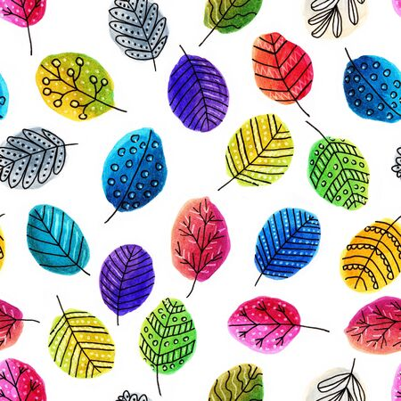Seamless pattern with multi-colored abstract hand-drawn leaves on white background, for design, print, cover, packaging, textiles Stok Fotoğraf