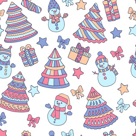 Winter seamless pattern with colorful Christmas trees and snowmen on white background