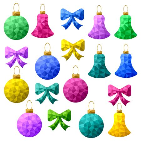 Set of bright multi-colored Christmas toys: balls, bells, bows in low poly style on a white background 일러스트