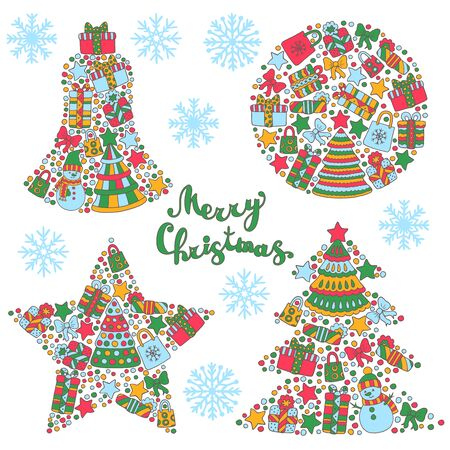 Set of bright abstract Christmas decorations of Christmas trees, snowmen, gifts, stars, bows, confetti, snowflakes, bells, balls for greeting card design and boxes