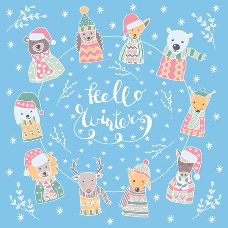 Vector Christmas set of hand-drawn festive animals in Scandinavian style with snow-covered branches and snowflakes, with the text HELLO WINTER on a blue background, greeting card design, children's book, holiday packaging