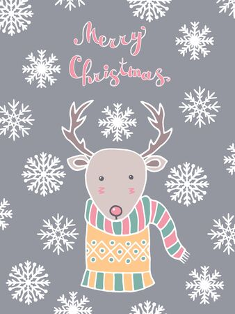 Merry Christmas greeting card with hand drawn cute reindeer and snowflakes in Scandinavian style on grey or silver background