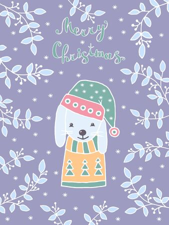 Merry Christmas greeting card with hand drawn cute rabbit in winter hat and sweater with snow-covered branches and snowflakes in Scandinavian style on a purple background