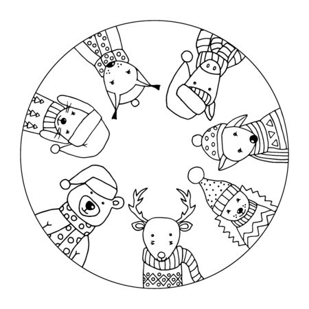 Coloring page with funny winter animals in Scandinavian style in a circle