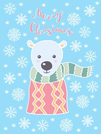 Merry Christmas greeting card with hand drawn cute polar bear and snowflakes in Scandinavian style on blue background Çizim