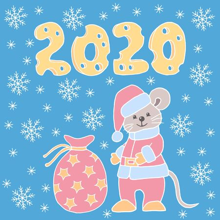 Vector Christmas picture with hand-drawn mouse in Santa suit and hat with a bag of gifts and 2020 year of yellow cheese with holes on a blue winter background with snowflakes, for the design of greeti