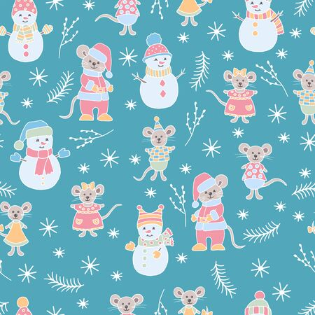 Vector Christmas seamless pattern with hand-drawn mice and snowmen on winter blue green background, symbol of 2020, for the design of covers, packaging, greeting cards, childrens books, print on text