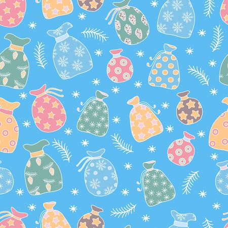 Vector seamless pattern with hand-drawn colorful festive Christmas bags with Santa gifts on winter blue background with snowflakes, branches in the snow, for the design of covers, packaging, greeting  일러스트