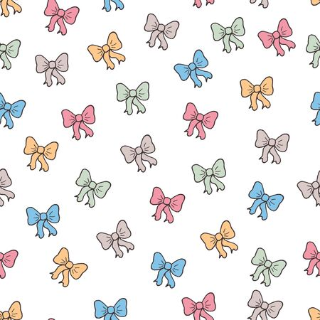 Simple cute vector seamless pattern with hand drawn colorful bows on white background, for cover design, greeting cards, packaging, textile print