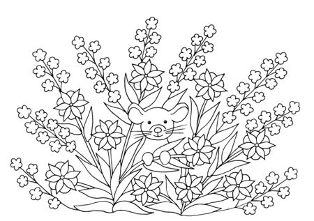 Coloring page with cute little mouse in summer flowers, symbol of 2020 일러스트