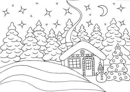 Horizontal coloring page with a beautiful house in the winter forest with a Christmas tree and a snowman at night
