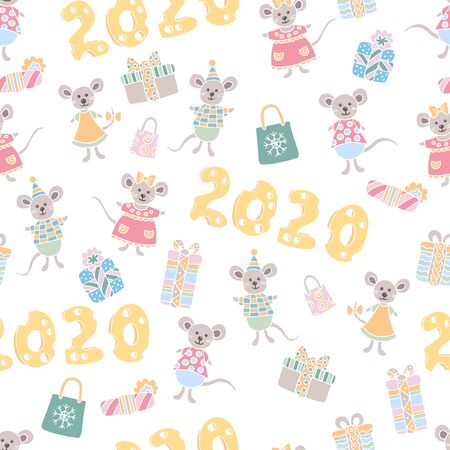 Christmas seamless pattern with cute mice, cheesy 2020 and holiday gifts on white background, for the design of covers, packaging, greeting cards, childrens books, print on textiles 일러스트