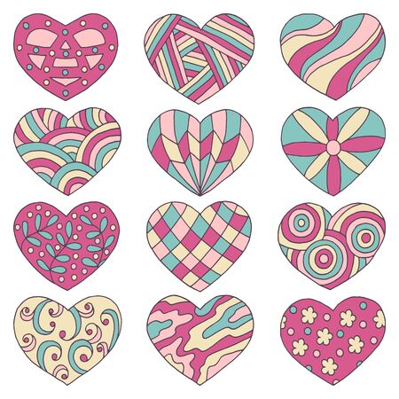 Vector set of multicolored hearts with abstract hand-drawn patterns, isolated on a white background