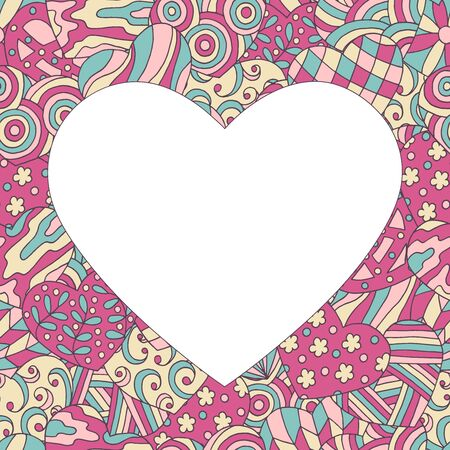 Beautiful vector frame in the form of a heart on a hand-drawn patterned background, for Valentines day, design for a greeting card, book, notepad
