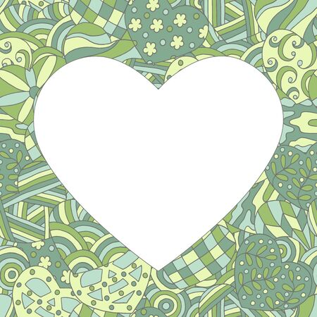 Beautiful vector frame in the form of a heart on a green hand-drawn patterned background, for Valentines day, design for a greeting card, book, notepad