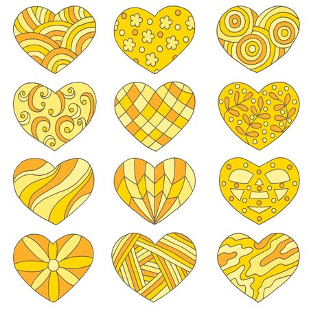 Vector set of multicolored hearts with abstract hand-drawn yellow patterns, isolated on a white background, for Valentines day