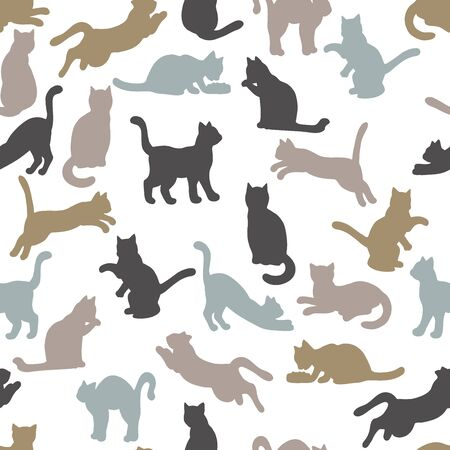 Vector seamless pattern with silhouettes of cats on a white background: cat eats, sleeps, sits, washes, jumps, plays. For design of covers, books, packaging, print on wallpaper, textiles Иллюстрация