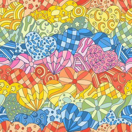 Seamless pattern of hand-drawn abstract multicolored hearts, rainbow colors. For design of covers, books, packaging, print on wallpaper, textiles Иллюстрация